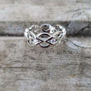 Interlacing Crystal Ring in Silver Tone